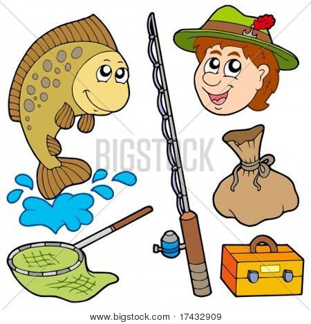 Cartoon fisherman collection - vector illustration.