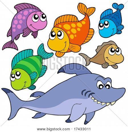 Verschiedene cartoon Fische-Sammlung - Vektor-Illustration.