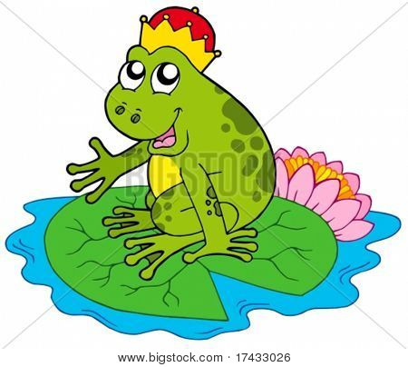 Frog prince on water lily - vector illustration.
