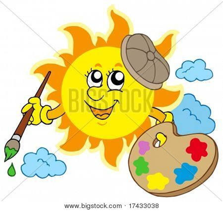 Sun-Künstler auf weißem Hintergrund - Vektor-Illustration.