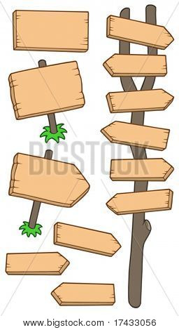 Wooden roadsigns collection - vector illustration.