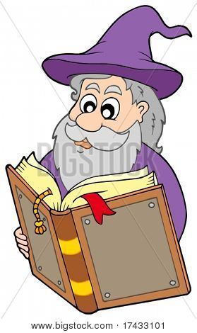 Wizard reading magic book - vector illustration.