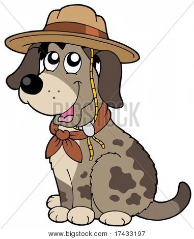 Friendly dog in scout hat - vector illustration.