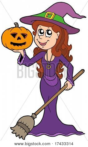 Halloween girl wizard - vector illustration.