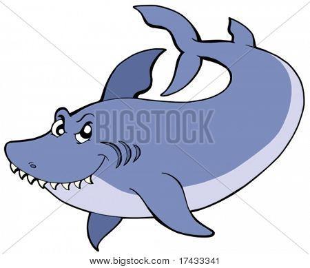 Big blue shark - vector illustration.
