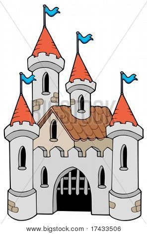 Old castle on white background - vector illustration.