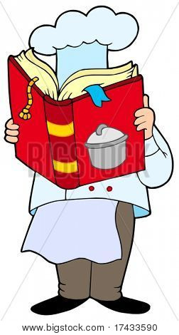 Chef reading cookery book - vector illustration.