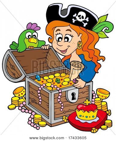 Pirate woman opening treasure chest - vector illustration.