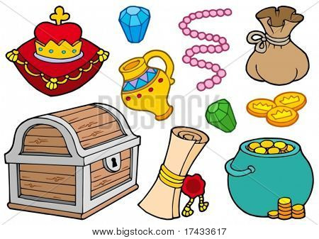 Treasure collection on white background - vector illustration.