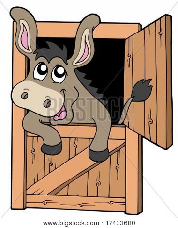 Cute donkey in stable - vector illustration.
