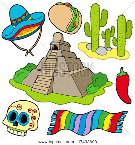 Various Mexican images - vector illustration.
