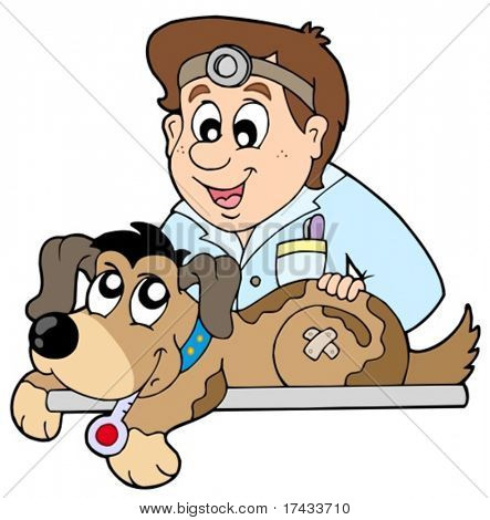 Dog at veterinarian - vector illustration.