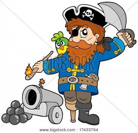 Pirata desenho animado com canhão - ilustração vetorial.