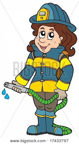 Firefighter girl on white background - vector illustration.