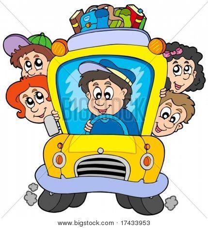 Autobús escolar con niños - ilustración vectorial.