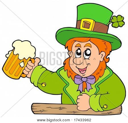 Cartoon leprechaun with beer - vector illustration.