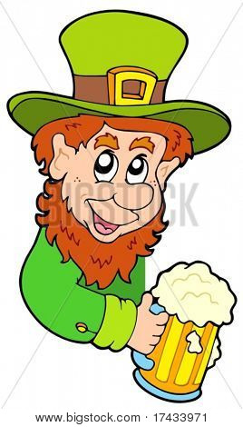 Lurking leprechaun on white background - vector illustration.