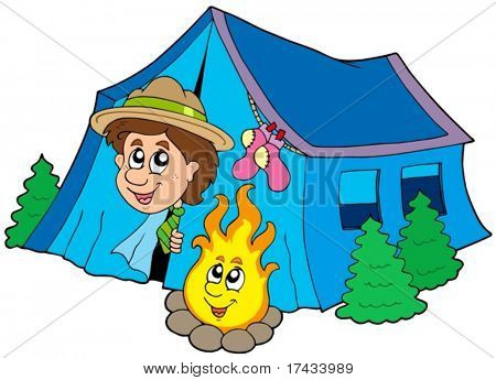 Scout camping in tent - vector illustration.