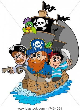 Schiff mit verschiedenen Cartoon Piraten - Vektor-Illustration.