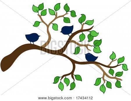 Branch with three small birds - vector illustration.