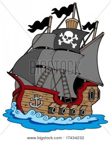 Barco pirata sobre fondo blanco - ilustración vectorial.