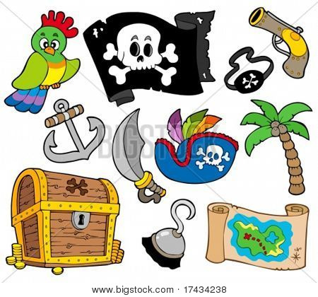 Buccaneer collection on white background - vector illustration.