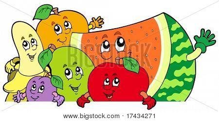 Vectores y fotos en stock de Lurking frutas de dibujos animados ...