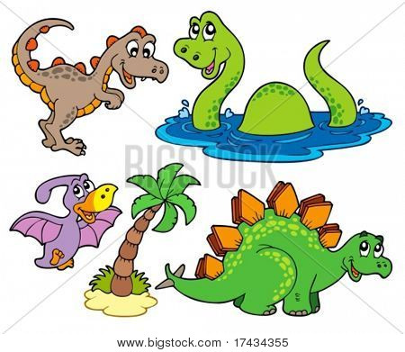 Various dinosaur collection - vector illustration.