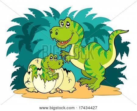 Tyrannosaurus rex family - vector illustration.