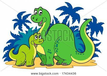 Cartoon dinosaur family - vector illustration.
