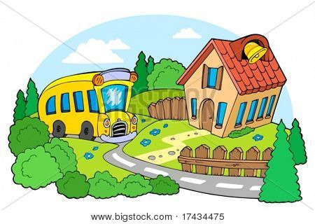 Landscape with school - vector illustration.