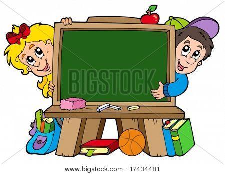 School chalkboard with two kids - vector illustration.