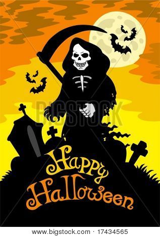 Halloween theme with grim reaper - vector illustration.