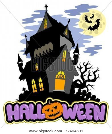 Halloween sign with haunted mansion - vector illustration.