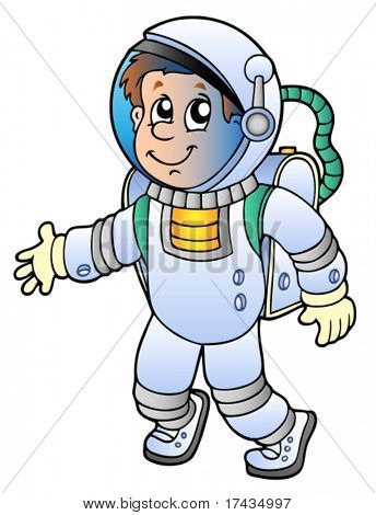 Cartoon astronaut on white background - vector illustration.