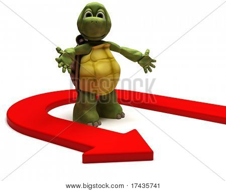 3D Render of a Tortoise with u turn arrow