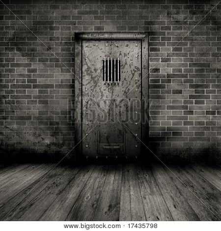 Grunge style interior with a prison door