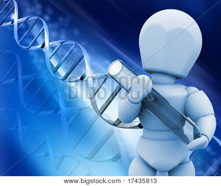 3D render of a man holding a test tube on a DNA background