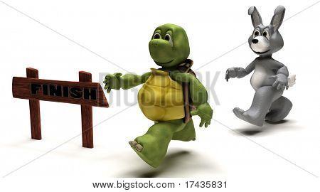 3D Render eine Schildkröte und Hase-Rennen-Metapher