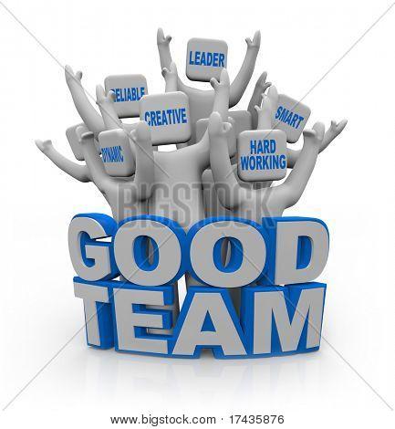 Un grupo de personas que animan con cualidades de trabajo en equipo en la cabeza--líder, inteligente, trabajadora, cr