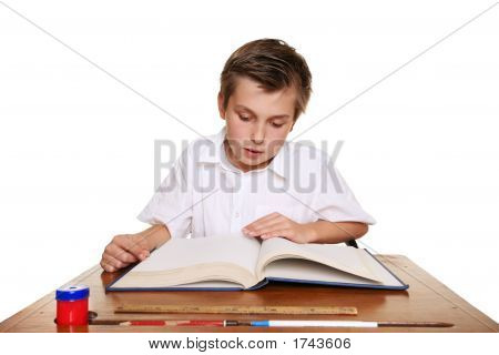 School Student Reading A Book.
