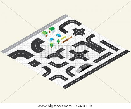 Road Map Kit - vector elements to create your own isometric city map
