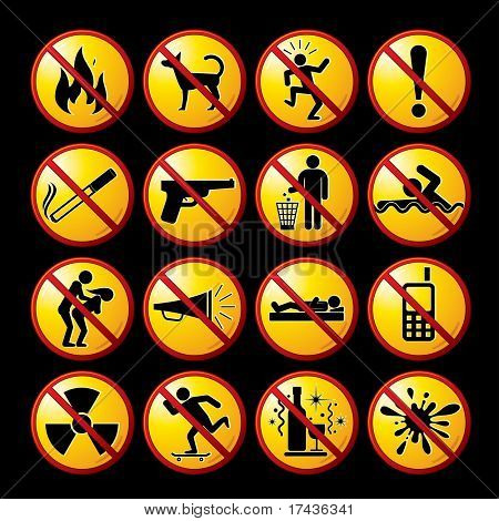 Set of Prohibited and Ban signs, icons, pictograms - vector clip-art