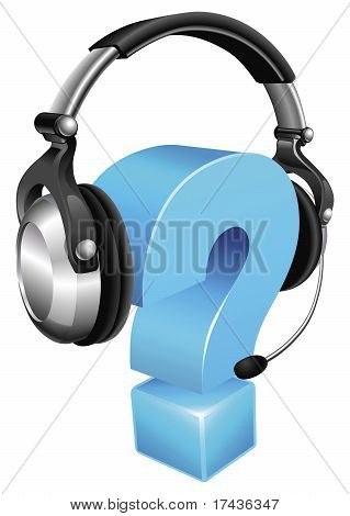 Question Mark Wearing Headset