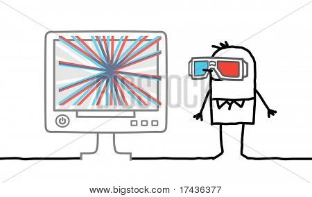 man watching computer screen with 3D glasses