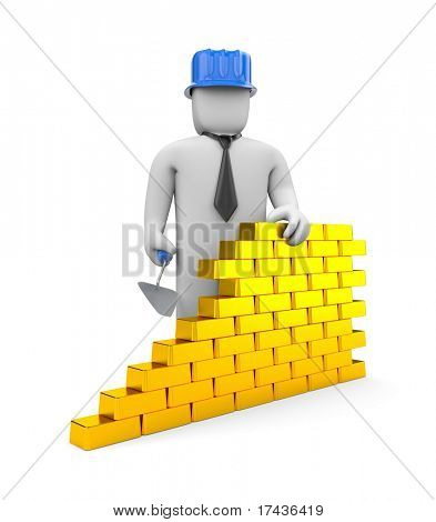 Wall from gold bricks. Image contain clipping path