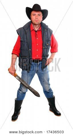 Male farmer dressed in traditional cowboy suit with cutlass standing on a white background.