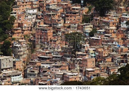 Shacks In The Favellas, A Poor Neighborhood In Rio De Janeiro