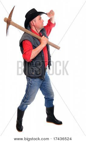 Cowboy with pick axe on a white background.  Under construction metaphor.