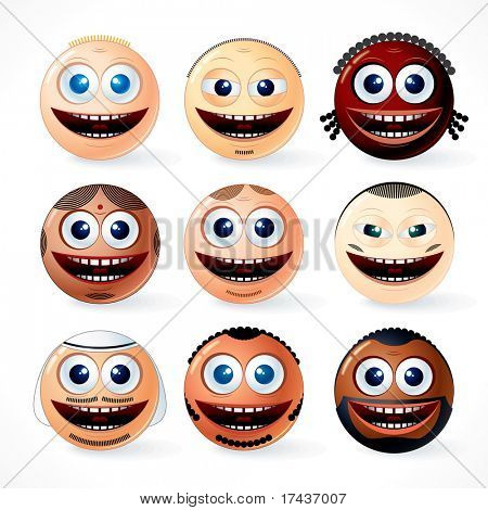 Illustration of multi ethnic Faces, Smileys - set of friendly cartoon emoticons of world community